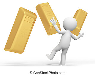 gold brick - Gold,money,a Surprised people and several gold...