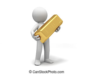 gold brick - Gold,money,A people holding  a gold brick
