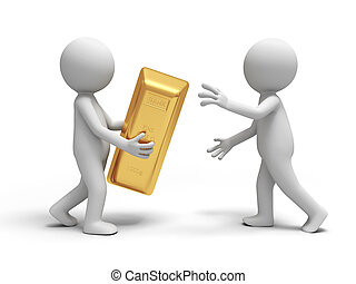 gold brick - Gold,money,A people give a gold brick to the...
