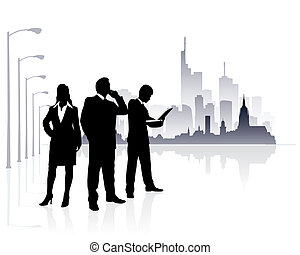 Urban people - people silhouette with modern city background