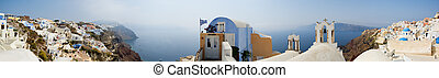 Santorini view - More than 180 degrees panorama of Oia...