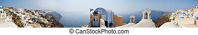 Santorini view - More than 180 degrees panorama of Oia...