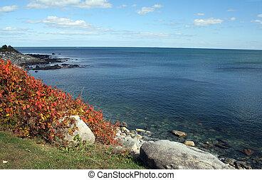 Autumn Coastline - Autumn on the rocky coast of New...