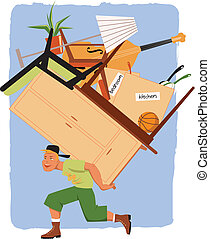 Mover with a pile of furniture - Young man carrying a load...