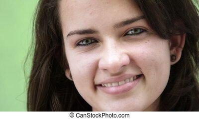 Happy young hispanic woman, girl