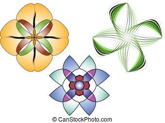 Floral Adornments - Floral adornments. Vector file easy to...