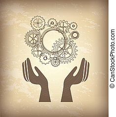 Hand and gear over beige background vector illustration