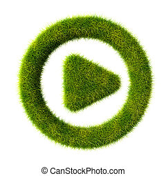 Grass play icon - 3d render