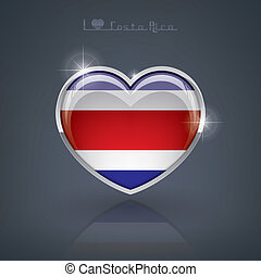 Costa Rica - Glossy heart shape flags of the Worlds:...