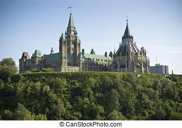 Canadian Parliament Building - Rear view of Parliament Hill...