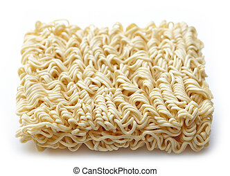 raw chinese noodles on white background