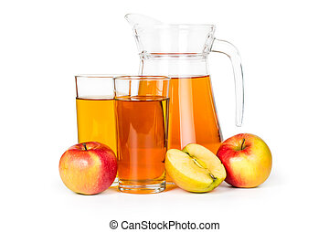 Apple juice in a glass jar isolated on white background.