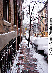 beacon hill snow - looking down beacon hill in boston after...