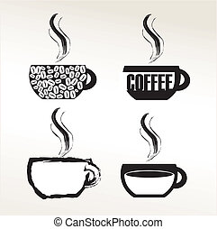 Coffee - black and white coffee icon over white background...