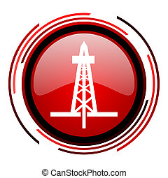 drilling icon - drilling red circle web glossy icon on white...