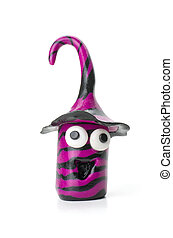 Handmade modeling clay figure with purple and black stripes