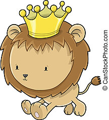 Cute Lion Cub Prince Vector Illustration Art