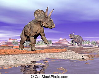 Diceratops dinosaurs in nature - 3D render - Two diceratops...