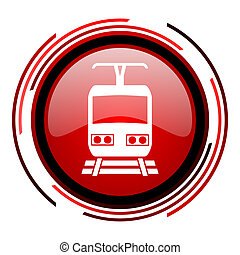 train icon - train red circle web glossy icon on white...