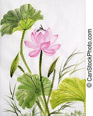 aquarela, quadro, loto, flor