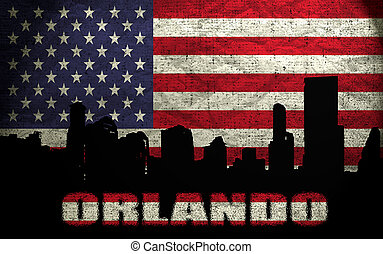 View of Orlando City on the Grunge American Flag