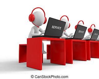 Customer service - Desk,computer , four businessmen working,...