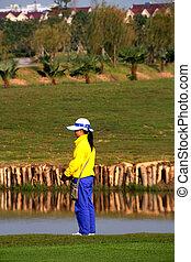porcelaine, golf, caddie, attente