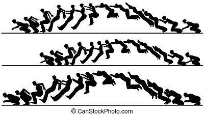 Animated jump - Silhouette sequences of a jumping man, woman...