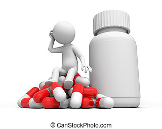 Capsule,bottle,a man thinking, sitting on a pile of capsules