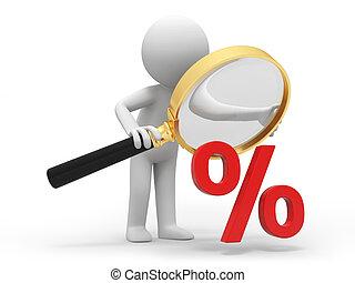 Percent symbol - A 3d person watching the percent symbol,...