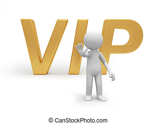 VIP - A 3d person offering his hand back to a VIP symbol