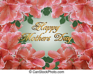 Mothers Day Card Border Azaleas - Illustration and image...