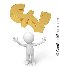 Currency symbol - a 3d person looking up at a currency...