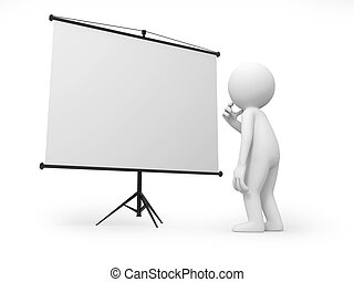 projector - A 3d man thinking , standing by a projector