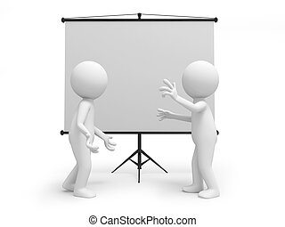 projector - Two 3d men discussing , standing by the...
