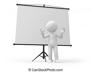 projector - A 3d man standing by a projector; clapping