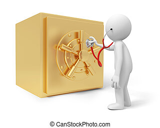 safe - A 3d man with a stethoscope standing by a safe