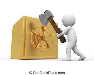 safe - A 3d man cut a safe with an axe