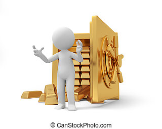 safe - A 3d man introducing , back to a full gold bars safe