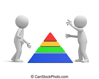 pyramid - Two 3d men discussing nearby a pyramid model