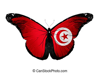 Tunisia flag butterfly, isolated on white background