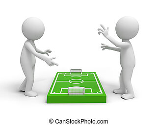 Football field - Two 3d men discussing at a football field...