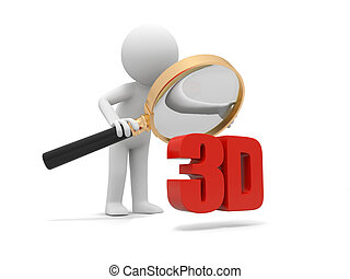3D word - A 3d man watching a 3d word with a magnifying...