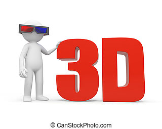 3D film - A 3d man watching a 3d film with a 3d glasses
