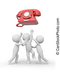 telephone - Three 3d people snatching a red phone call