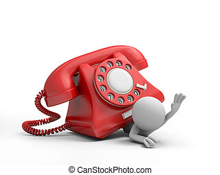 telephone - A 3d person being pressed by a phone call