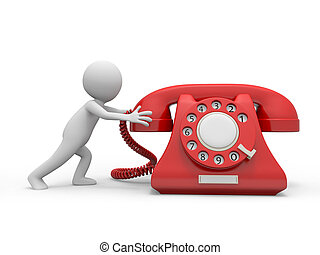 telephone - A 3d person pushing a red phone call