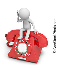 telephone - A 3d man thinking seated on a phone call