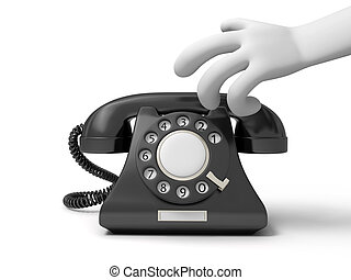 telephone - A 3d hand, a red phone call background