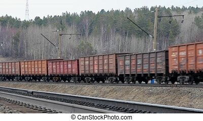 Freight train traveling on the rail